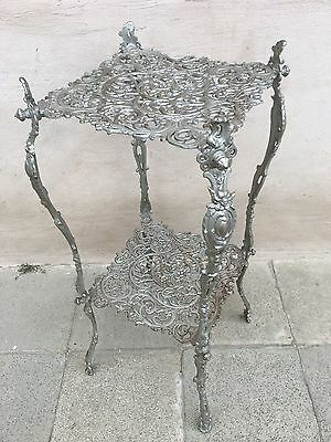 Antique French Art Nouveau/Victorian Cast Iron Garden Table /side table Signed