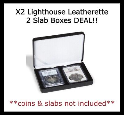 2 Certified Coin Slabs Graded PCGS NGC ANACS EVERSLAB QUICKSLAB Leatherette Box