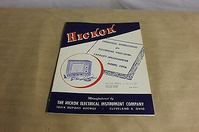 VOLT OHM CAPACITY MILLIMETER Hickok instruction 209A MANUAL ORIGINAL