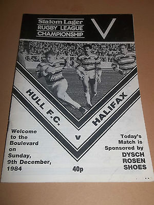 Hull V Halifax ~ Rugby League Programme December 1984