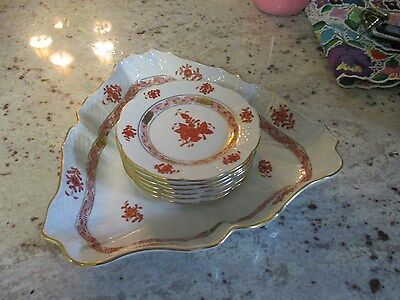 Herend Chinese Bouquet Rusty Plates and serving Dish