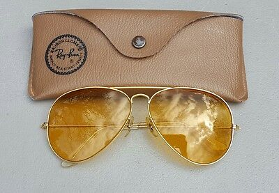 Vintage B&L Ray Ban Bausch & Lomb USA Ambermatic 62mm 62-14 Sunglasses w/Case