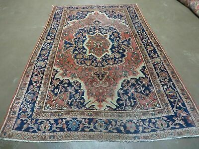 4' X 7' Authentic Antique Hand Made Persian Farahan Sarouk Wool Rug Fine Wow