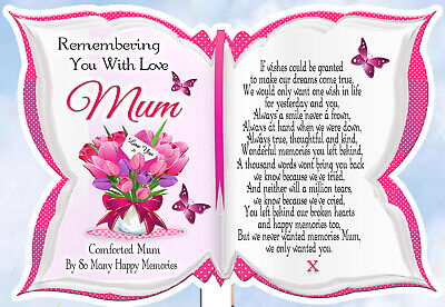 Mum Memorial Rememberance Graveside Keepsake Butterfly Shaped Card & Free Holder