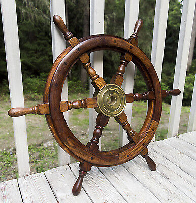 Wood/Brass Pirate Ship Captain Nautical Wall Decor, Sailboat Steering Wheel 25""