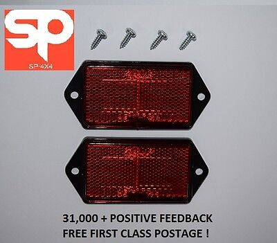 LAND ROVER DEFENDER rear red reflector x 2 + 4 stainless steel screws XFF100070