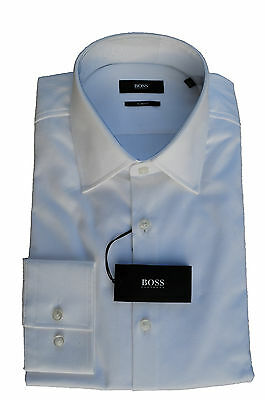 40 43 HUGO BOSS Camicia Jacob slim fit white jeans a 50285071 NUOVO Gr