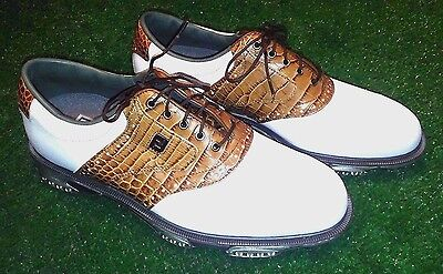 FootJoy 53677 Dryjoys Tour Mens Golf Shoes, SIZE 10 Med, Brown White - New