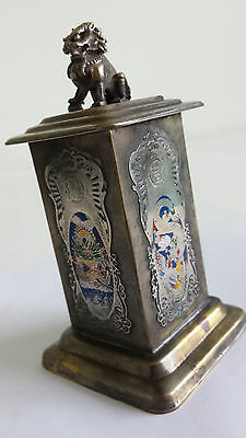 Antique Qing Chinese Marked Enamel Foo Dog Tea Caddy / Cigarette Case Holder