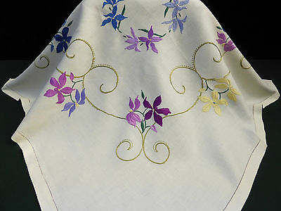 Vintage LinenTablecloth-Hand Embroidered Pretty Flowers & Swirls