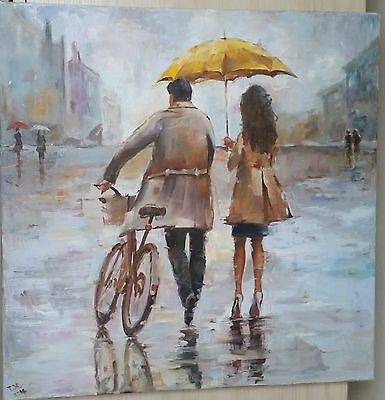 Original Oil Painting On Canvas. A Couple In A Small Town.