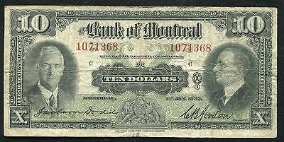 1935 $10 Ten Dollars The Bank Of Montreal Canada Chartered Banknote (B)