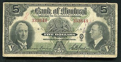 1935 $5 Five Dollars The Bank Of Montreal Canada Chartered Banknote