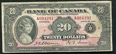 "BC-9a 1935 $20 TWENTY DOLLARS BANK OF CANADA ""ENGLISH"" BANKNOTE F/VF RARE"