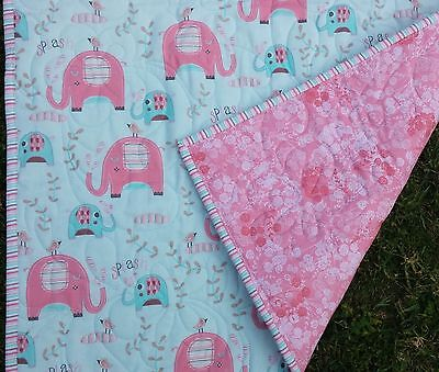 Handmade Bassinet, stroller, play mat  cotton quilt pink and aqua elephants
