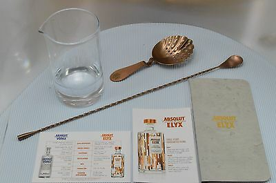 Rare Absolut Elyx Copper Tone Julep Strainer Stir Spoon Bar Mixing Glass Barware