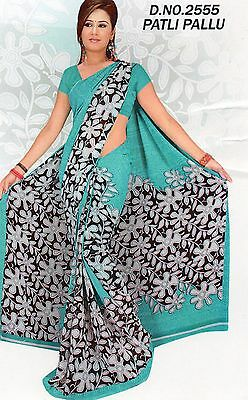 Saree Bollywood Indian Printed Synthetic Sari Black Blue Gift For Her Party 2555