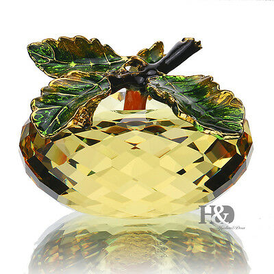 3D  Crystal Paperweight Yellow Apple Figurine Glass Table Decor Xmas Gift in Box