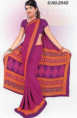 Saree Bollywood Indian Printed Synthetic Sari Purple Gift For Her Party 2542