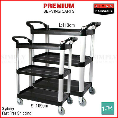 Service Cart Restaurant Trolley Kitchen Serving Catering Large Shelf Food 3 Tier
