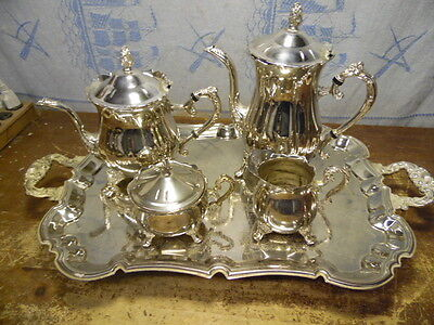 International GoldPlated 5 Piece Silver Plated Tea & Coffee Serving Set Pristine