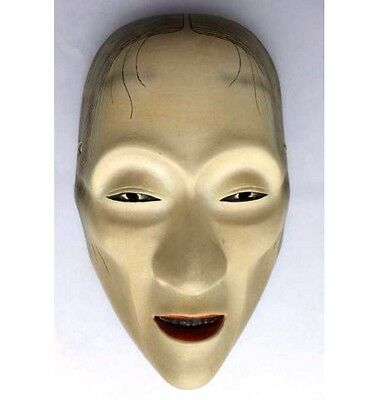 "JAPANESE ANTIQUE MASK ""OLD WOMAN"" NOH DEMON DEVIL LACQUER HANNYA r316"