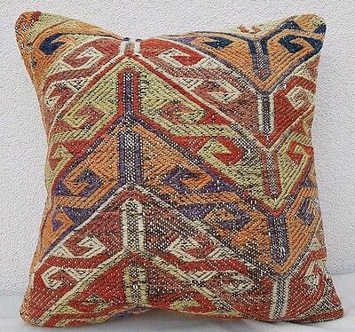 20''X 20'' Antique Kilim Pillow Cover, Decorative Throw Pillows, Kelim Kissen