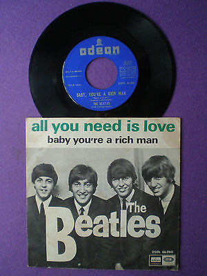 """THE BEATLES All You Need...VERY RARE SPAIN """"NO TEXT ON PS"""" 45 1967...Is Love"""