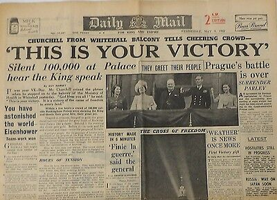 Rare UK Vintage Newspaper, Daily Mail May 9th 1945, 2am edition