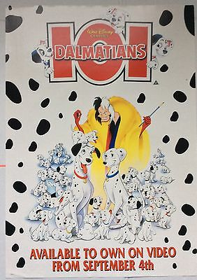 101 Dalmatians / Walt Disney / Original Vintage Large Video Film Poster / Rare