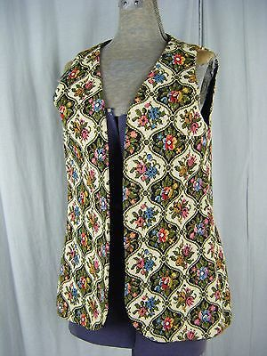 CAMPUS CASUALS Vtg 60s Multicolored Tapestry Woven Mod Vest-Bust 36/S