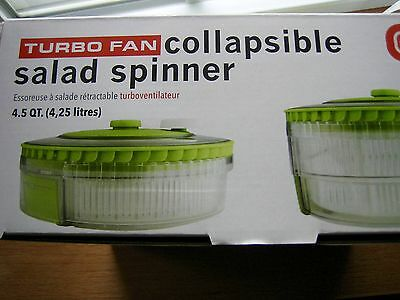 Dexas Turbo Fan Collapsible Salad Spinner Natural/Green NIB
