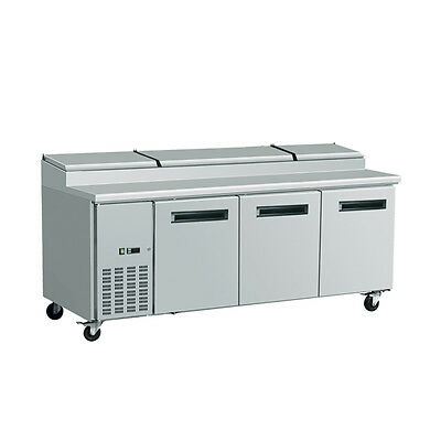 EQ Commercial Refrigirated Pizza Table 3 Doors 232 Gal W/ Wheels, 94.4X32.8X42.7