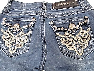 L A Idol Jeans Junior Size 1 Waist 27 Inseam 30 Low Rise Medium Wash BLING