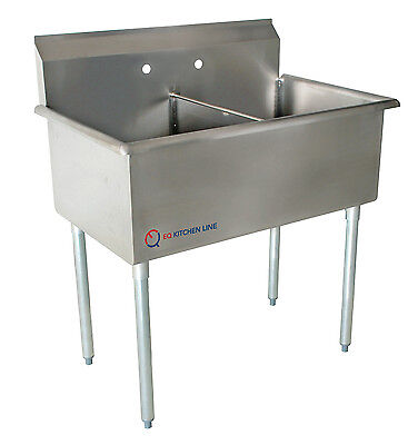 """EQ 2 Compartment Commercial Kitchen Sink Stainless Steel 35""""x27.5""""x43.75"""