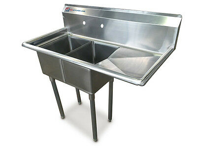 """EQ 2 Compartment Commercial Kitchen Sink Stainless Steel 19.5""""x43.75""""x42.5"""""""