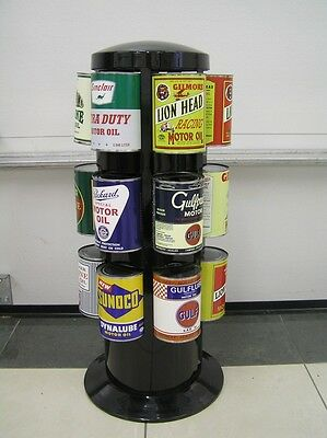 Oil Can Display Rack w/ 18 Branded Nostalgic Oil Cans