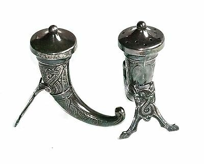 Theodor Olsens Etft Norway Sterling Silver Viking Horn Salt & Pepper Shakers - 2