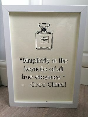 Coco Chanel Chanel No5 Bottle Quote Black & White Art Print Framed Gift A4 Print
