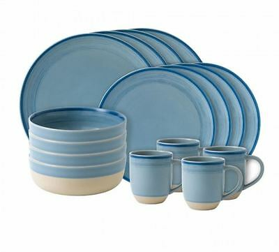 NEW Royal Doulton Ellen DeGeneres 16 PCE Brushed Glaze Polar Blue - low price!