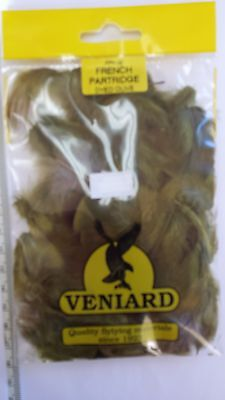 """1 pack  VENIARD fly tying FRENCH PARTRIDGE feathers  """"OLIVE"""" FREE SHIPPING"""