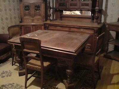 Antique 1800's Baroque era acajou wood table with 6 chairs