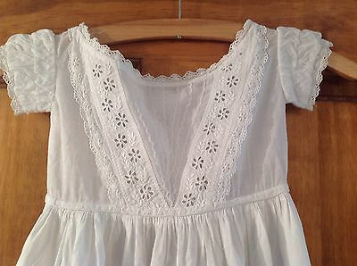 Antique Childs Hand Embroidered White Cotton Christening dress - Doll ?
