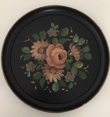 Vintage Shabby Tole Hand Painted Flowers Black Metal Tin Vanity Serving Tray