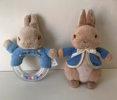 Peter Rabbit Baby Toys, Rattle Plush Soft Toy & Rattle Teething Ring, Teether