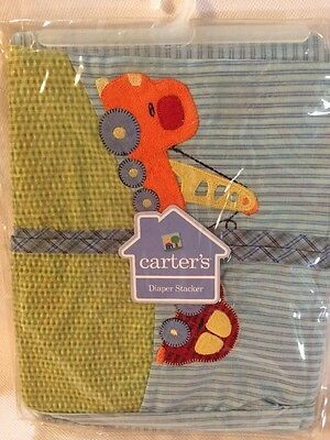 CARTER'S NEW Crane And Car DIAPER STACKER Blue And Green