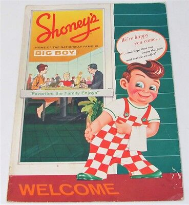 SHONEY'S Big Boy Menu 1950's with Menu insert