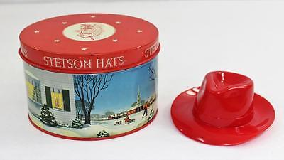Vintage Salesman Sample Gift Certificate Stetson Hat Box Tin With Hat
