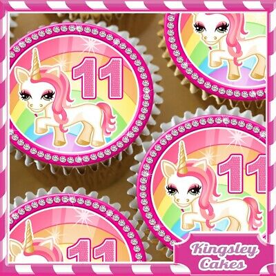 24 x PINK UNICORN AGE 11 11TH BIRTHDAY EDIBLE CUPCAKE TOPPERS RICE PAPER UP11