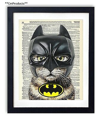 Bat Cat Super Hero Vintage Upcycled Dictionary Art Print 8x10 inches
